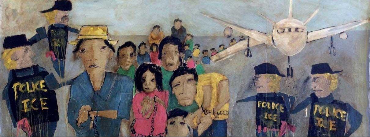 Painting Entitled Deportados 1 - Serie Impacto de Violencia Estatal en Estados Unidos by Richie Morales